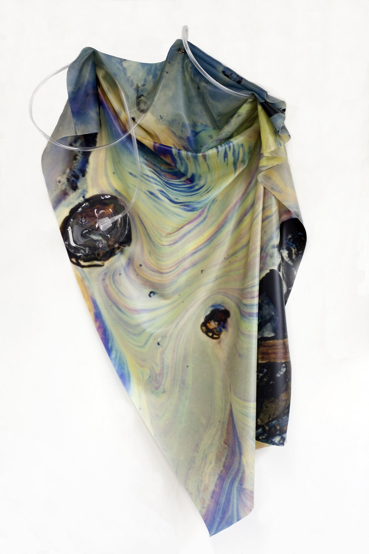 Petrified Sensibilities 04 , 2017. Sculpture; Inkjet print on latex, oxygen mask, oxygen tubing. 90.5 X 51 X 7 cm. Unique