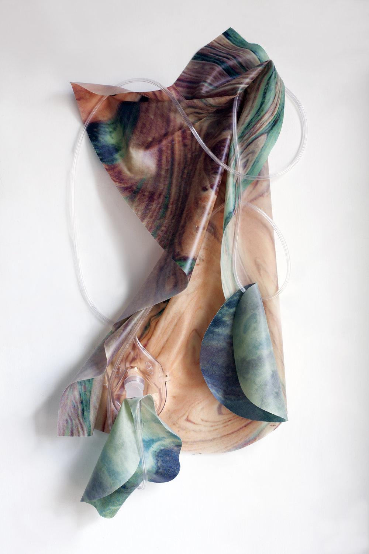 Petrified Sensibilities 05 , 2017. Sculpture; Inkjet print on latex, oxygen mask, oxygen tubing. 65 X 33 X 7 cm. Unique