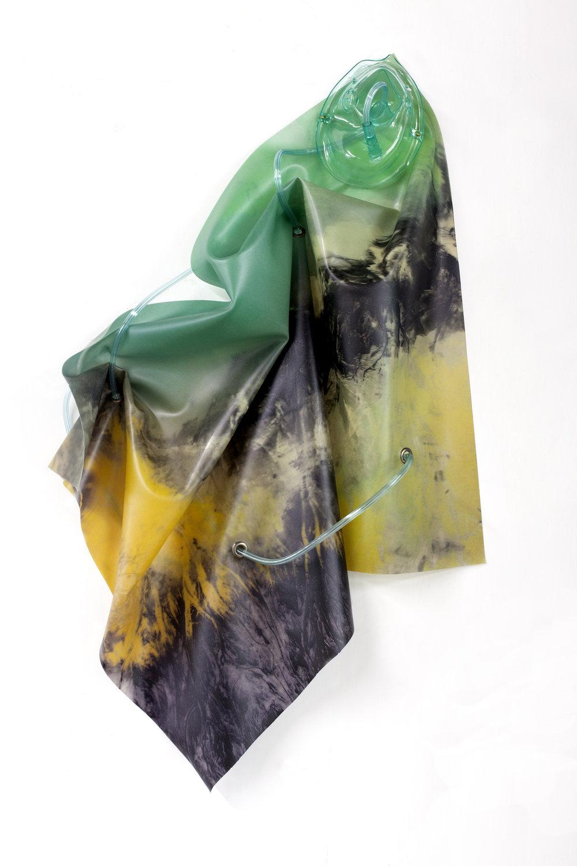 Petrified Sensibilities 06 , 2017. Sculpture; Inkjet print on latex, oxygen mask, oxygen tubing. 68 x 34 x 16 cm. Unique