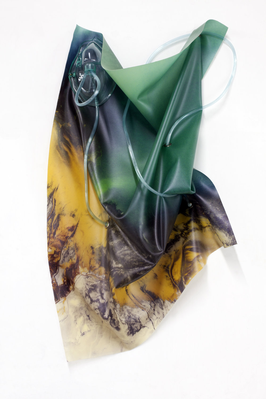 Petrified Sensibilities 07 , 2017. Sculpture; Inkjet print on latex, oxygen mask, oxygen tubing. 64.7 x 36.2 x 7 cm. Unique