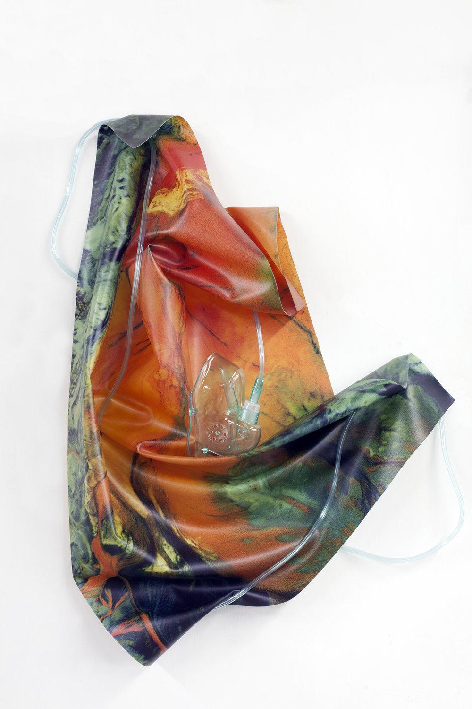 Petrified Sensibilities 08 , 2017. Inkjet print on latex, oxygen mask, oxygen tubing. Sculpture; 76.3 x 43.4 x 7 cm. Unique