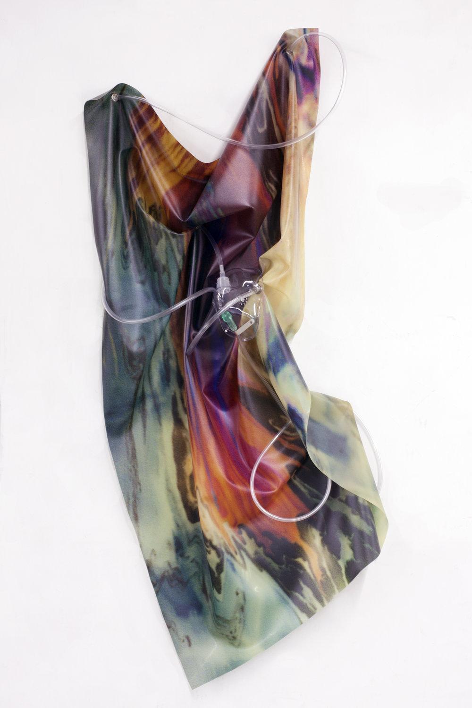 Petrified Sensibilities 09 , 2017. Sculpture; Inkjet print on latex, oxygen mask, oxygen tubing. 110 x 43 x 16 cm. Unique