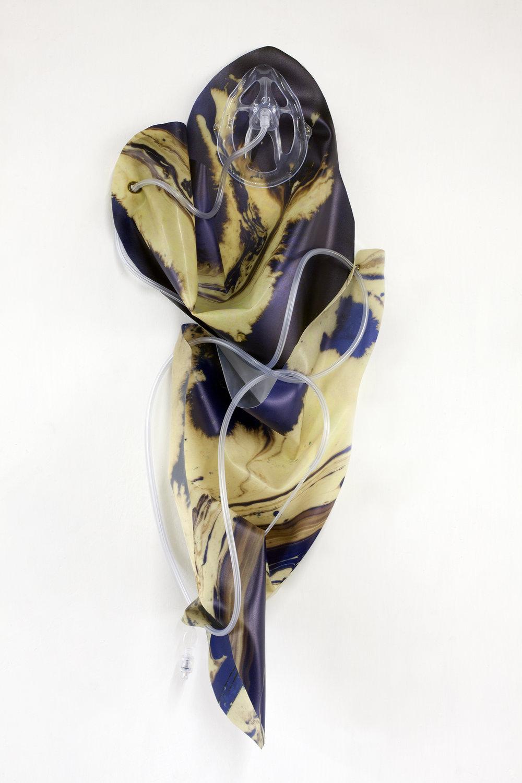 Petrified Sensibilities 10 , 2017. Sculpture; Inkjet print on latex, oxygen mask, oxygen tubing. 70 x 32 x 12 cm. Unique