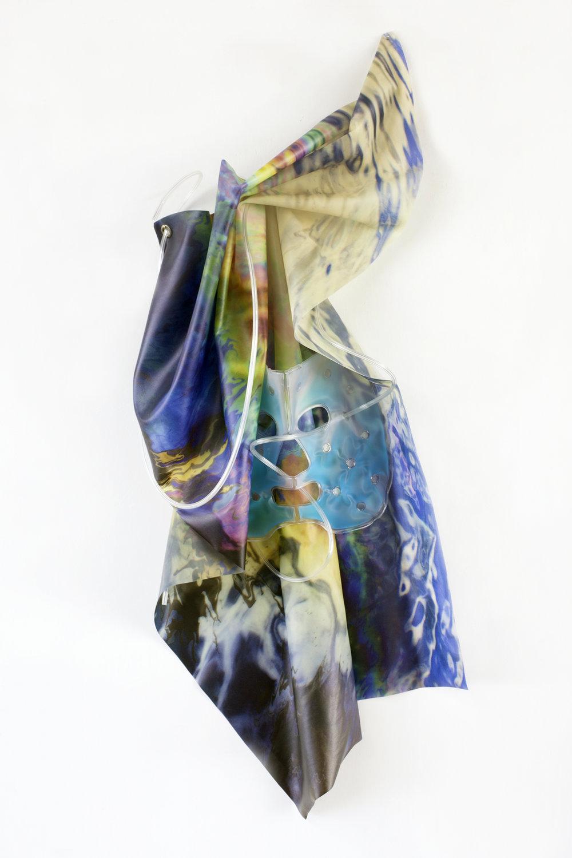 Petrified Sensibilities 12 , 2017. Sculpture; Inkjet print on latex, gel-mask, oxygen tubing. 70 x 30 x 8 cm. Unique