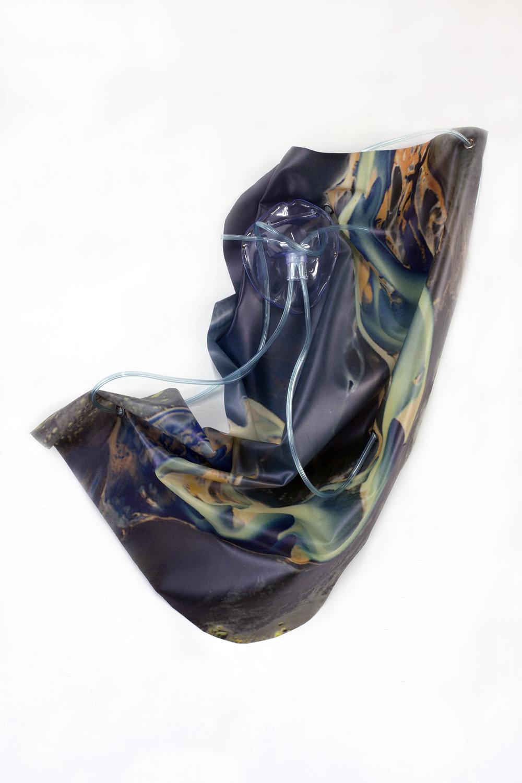 Petrified Sensibilities 13 , 2017. Sculpture; Inkjet print on latex, oxygen mask, oxygen tubing. 58 x 46 x 8 cm. Unique