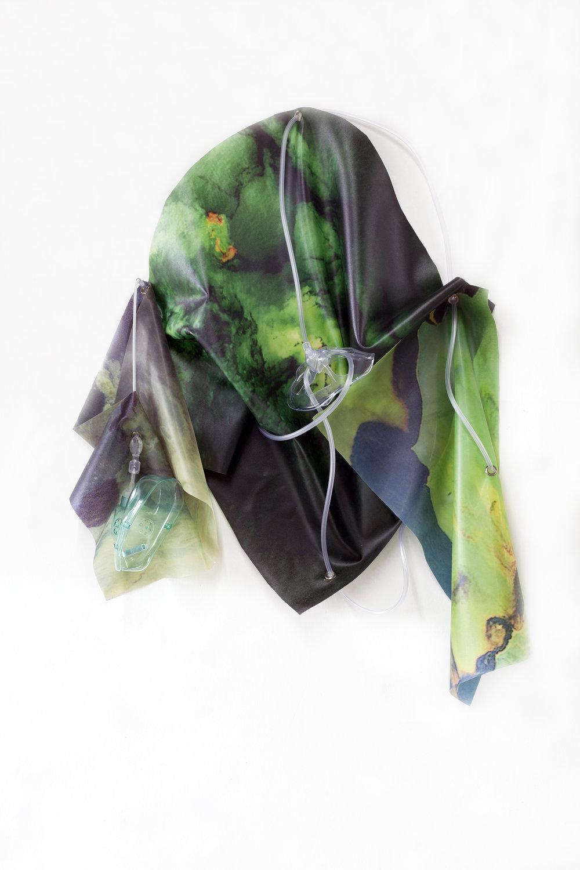 Petrified Sensibilities 15 , 2017. Sculpture; Inkjet prints on latex, oxygen masks, oxygen tubing. 74.7 X 57.8 X 8 cm