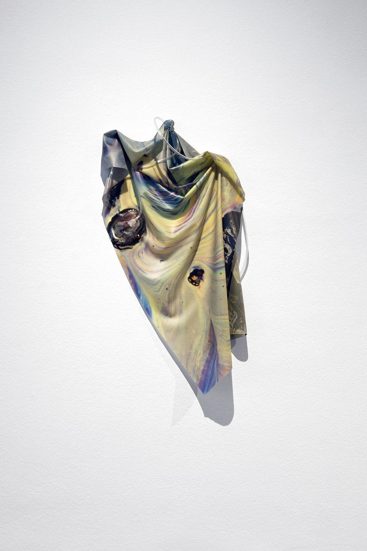 Petrified Sensibilities 04 , 2017, Sculpture; Inkjet print on latex, oxygen mask, oxygen tubing,90.5 X 51 X 7 cm.Unique