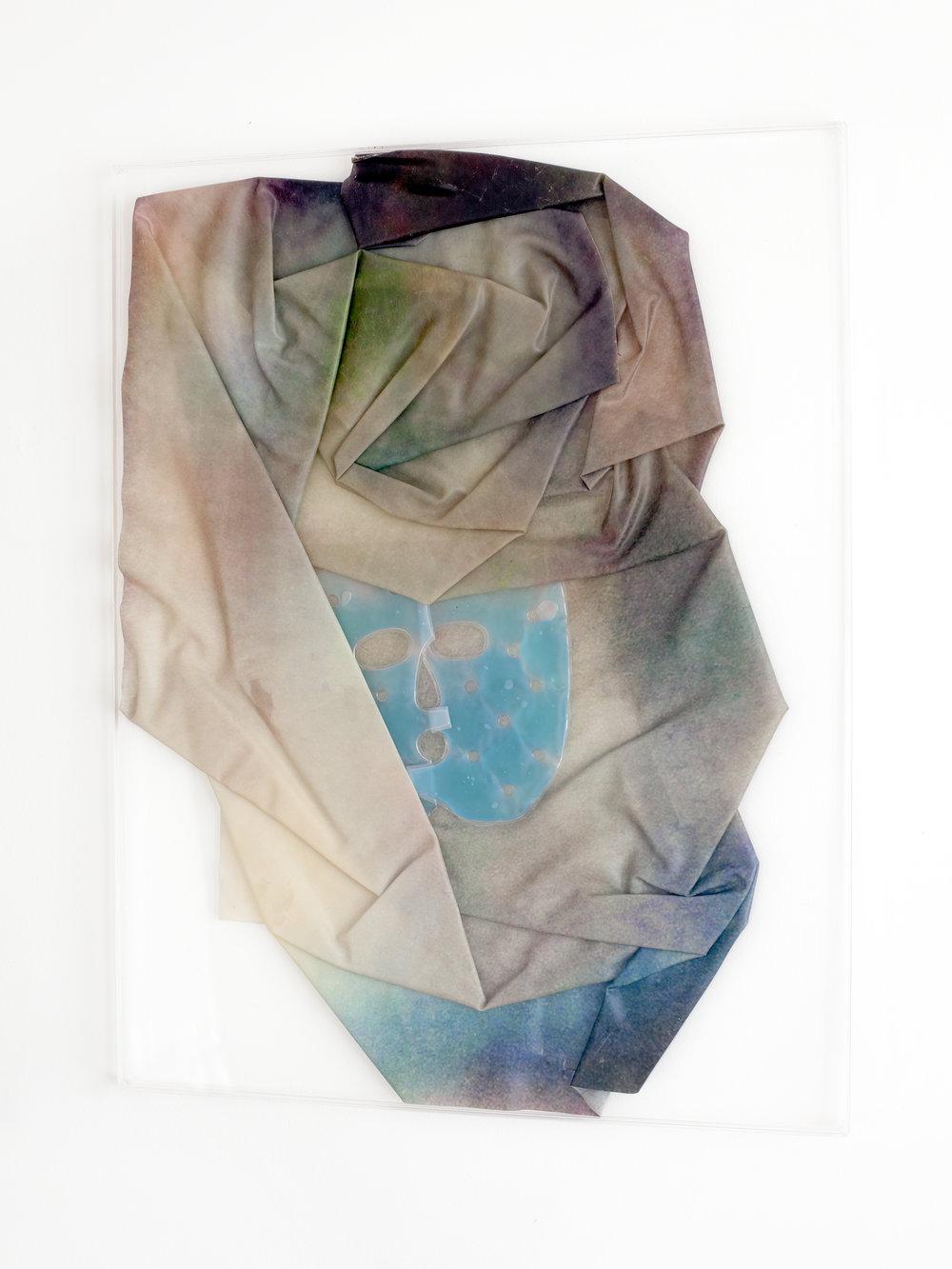 BLISSTER, 2018, sculpture (unique), 70 X 55 X 1,6 cm, inkjetprint on latex, transparent acrylic, face gel mask
