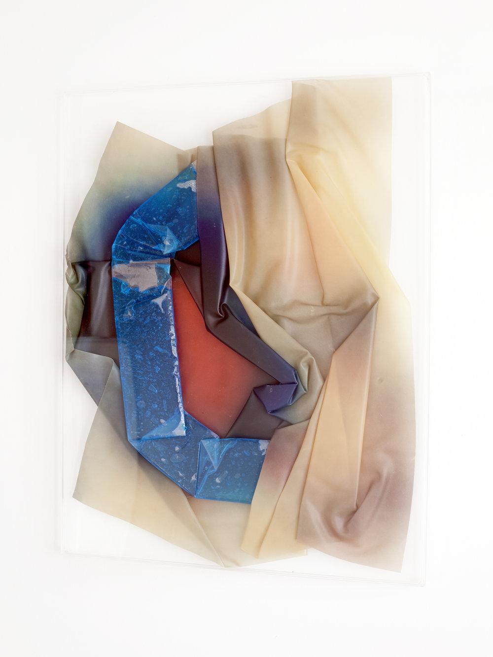 REFUSS, 2018, sculpture (unique), 70 X 55 X 1,6 cm, inkjetprint on latex, transparent acrylic, gel in plastic