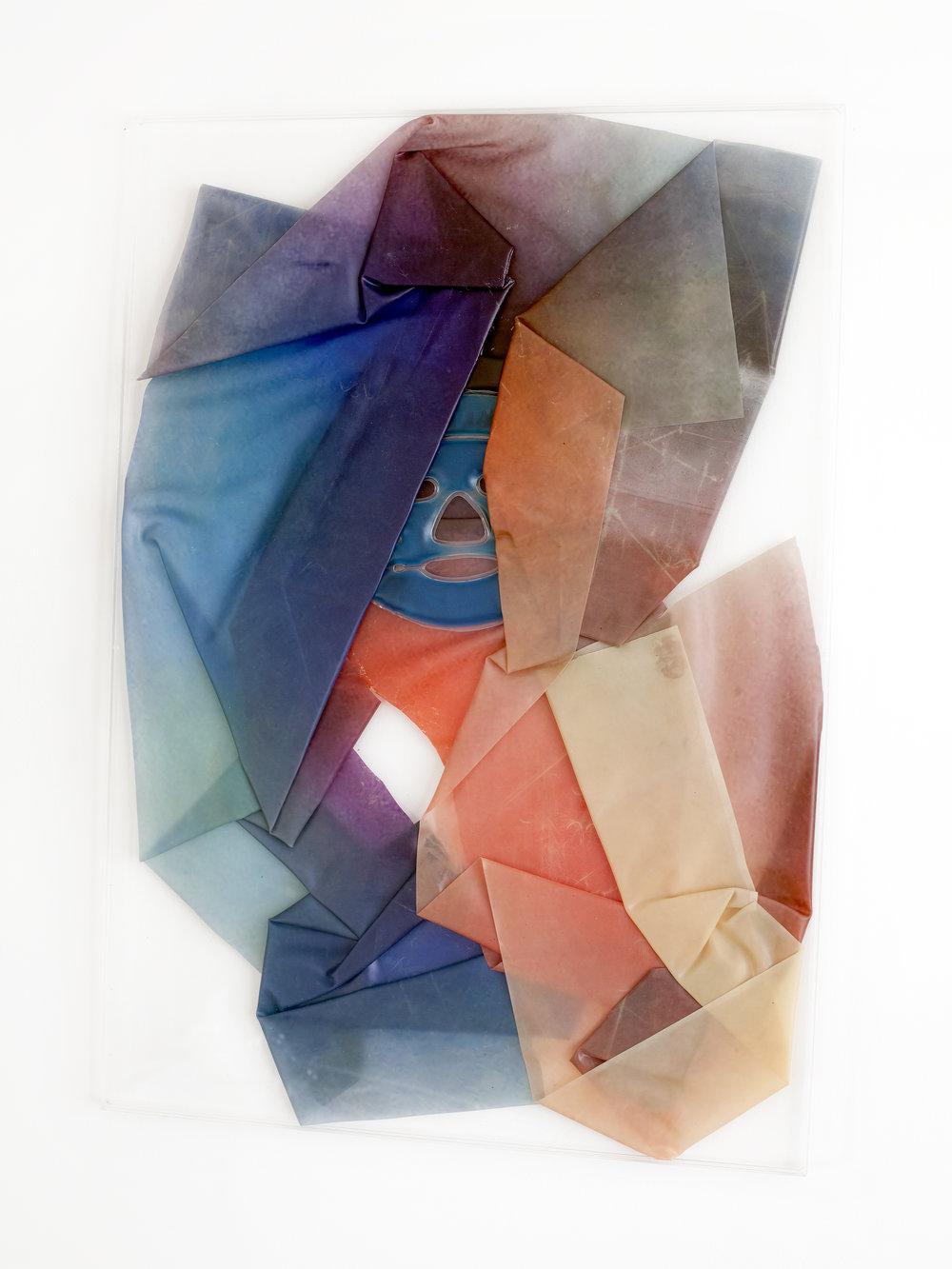 ZIPPED, 2018, sculpture (unique), 85 X 60 X 1,6 cm, inkjetprint on latex, transparent acrylic, face gel mask