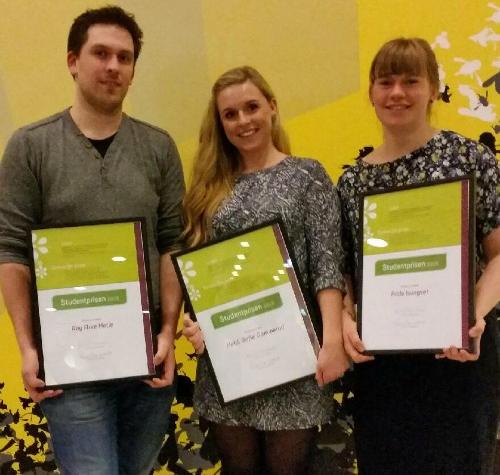 Vinnarane av Studentprisen 2015 Frå venstre: Roy Arve Hetle, Heidi Sofie Gommerud og Frida Isungset