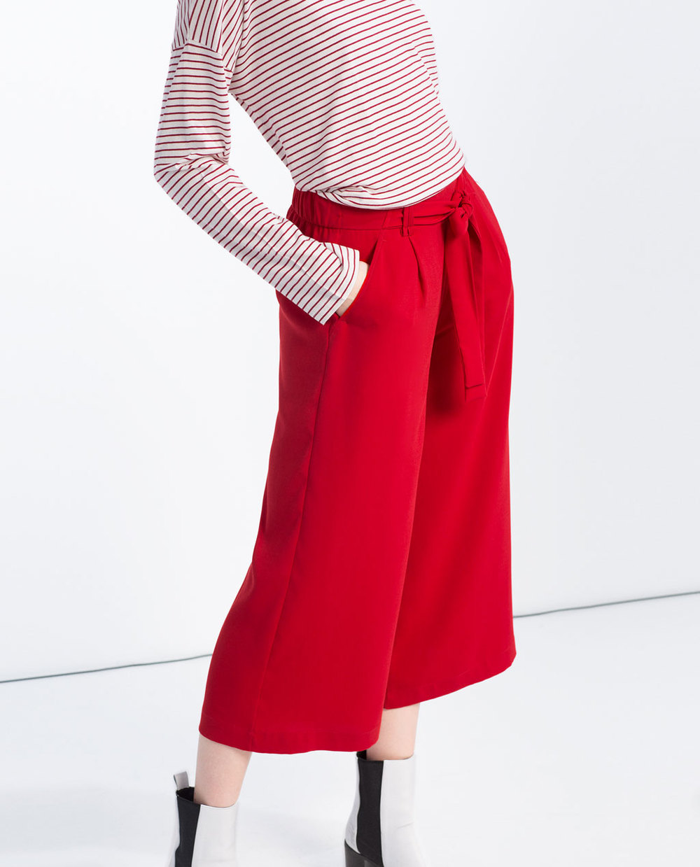 Stride out with these from  Zara  this spring with a classic breton t-shirt and white ankle boots.