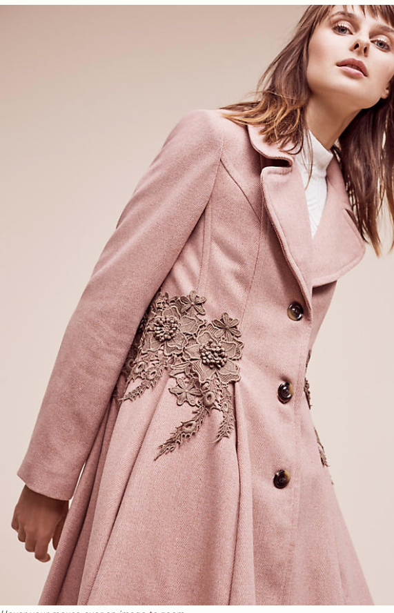 £118 from £238 - this beautiful  Pink swing coat  with embroidered lace will update your denim now and look effortless and pretty on a spring day. Perfect for an occasion worn under a swing dress at Easter.