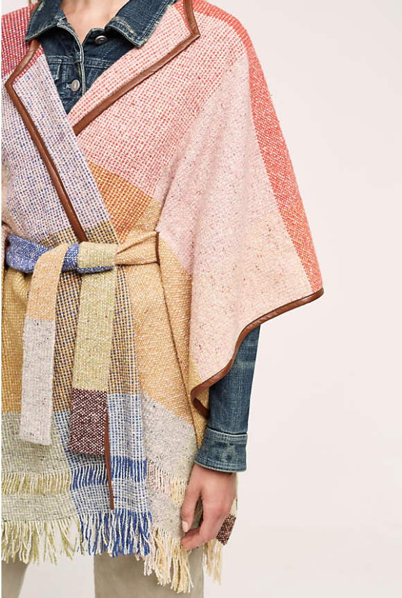 I love this  colourful poncho . Super fresh to wear now under cashmere but would work amazingly in the summer camping or at festivals..£83 (from £168)