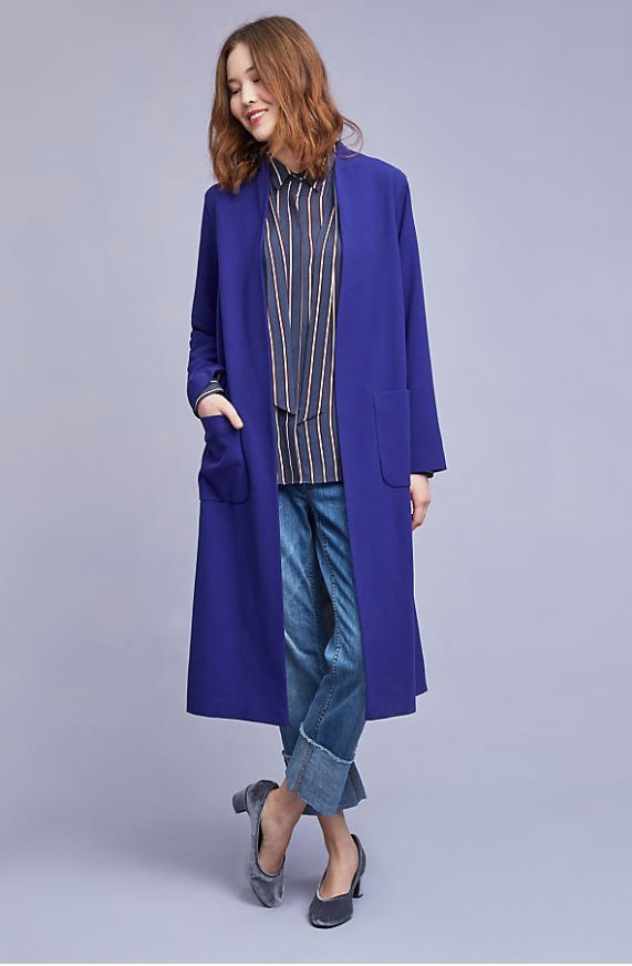 This  long line jacket  comes in two amazing colours. I love this bright blue. Wear loose casually with jeans as shown or on top of city cullotes for work to give a loose proportion look which is so 2017. £78 (was £158)