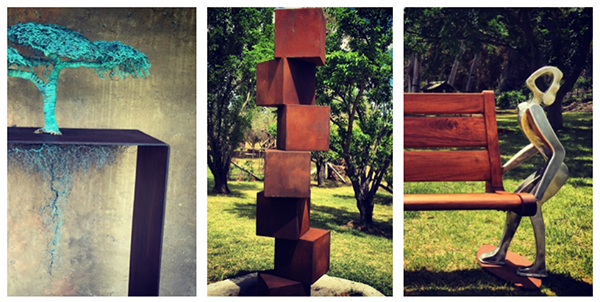 "Mid-Western Regional Council's SIG 2014 acquisitions; Ulan Murray's ""Acacia"", ""Cube Stack"" by Alex Scheibner and ""Heavy Load"" by David Walsh."