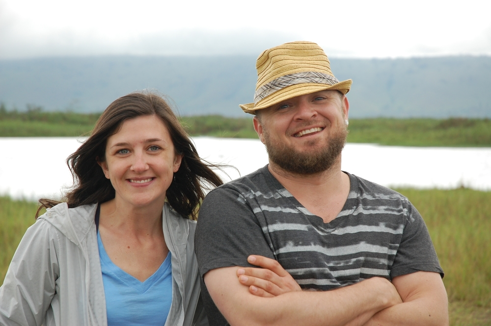 Me and Aaron in Rwanda .                                                                       Fun Fact: there were HIPPOS in the lake behind us!