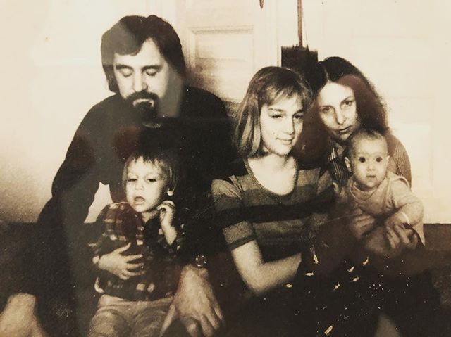 "My beautiful family, my father and me, my older sister Urša, my dearest Mami, l miss you so much, and still the ""smallest"" Neža, back In the magical 80s in Yugoslavia - good times! #situations"