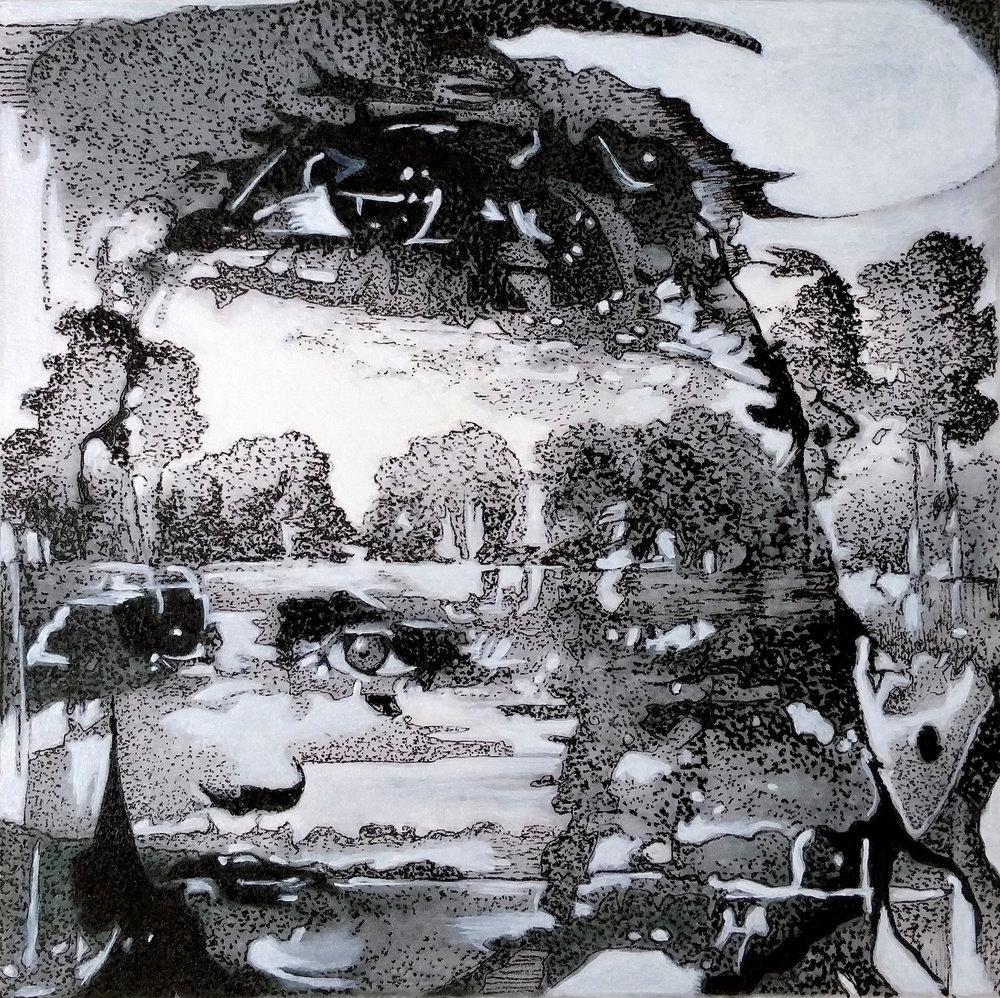 Inside, Outside ~ Pen & Ink, Acrylic on Paper