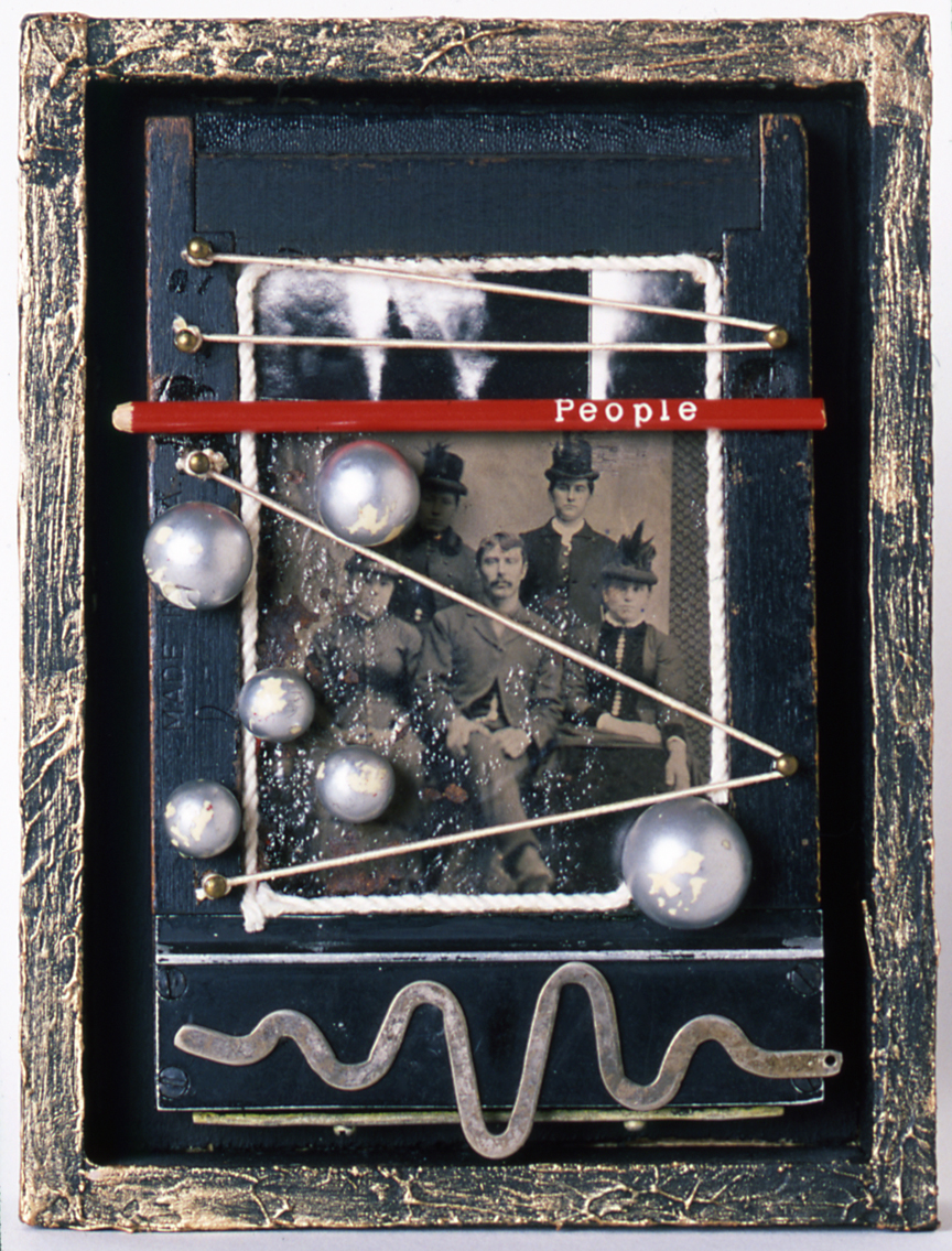 """""""People""""  Mixed Media Assemblage with Antique Tintype, Objects on Antique Film Holder (Ca. 1983)."""