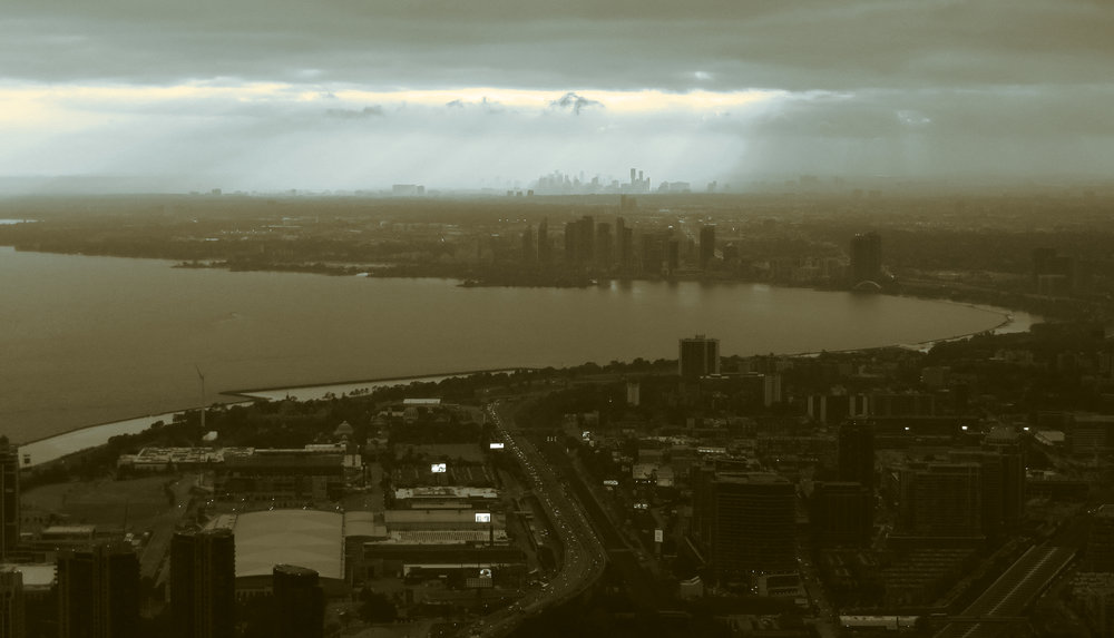 """""""Humber Bay, Lake Ontario, Toronto, Ontario from CN Tower"""" by Ken Lund, edited by A. Malcolm"""