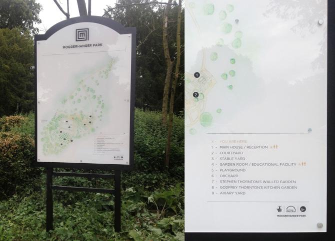 Bolter Design signage design for Moggerhanger Park