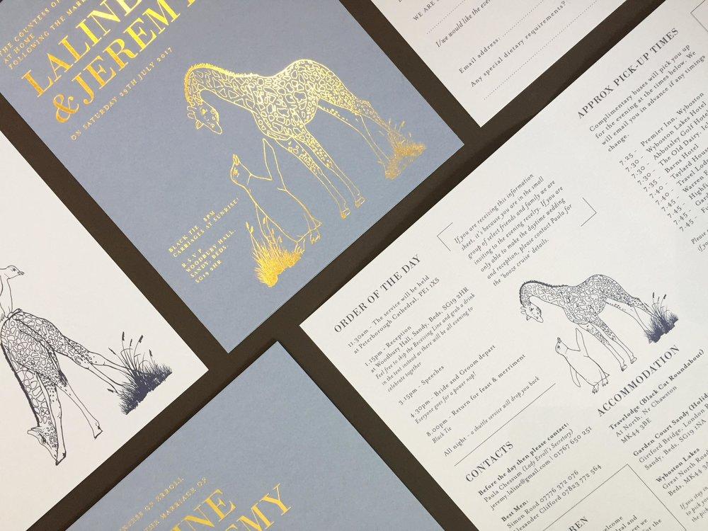 Bolter Design invite design Giraffe & Penguin