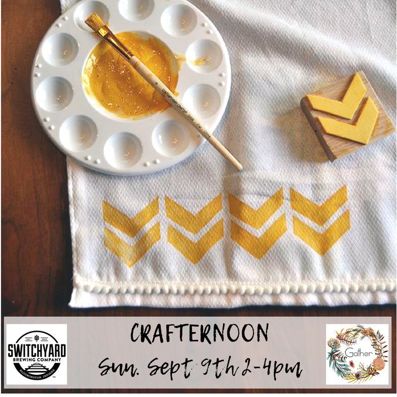 Come make your own personal stamped tea towel with Gather at Switchyard for our September Crafternoon!   Register here, online, by September 7th for $15 and your ticket INCLUDES 1 beer, and the cost of all materials to make your tea towel.   Register day of, in person at Switchyard, for $15 and your ticket includes the cost of materials only.   (that means you get a free beer when you register early!)  All skill levels and ages welcome!   Event takes place Sunday, September 9th, 2-4pm at Switchyard, located at 419 N. Walnut.  Tickets:  https://squareup.com/store/gathershoppe/item/share-our-craft-stamped-tea-towel
