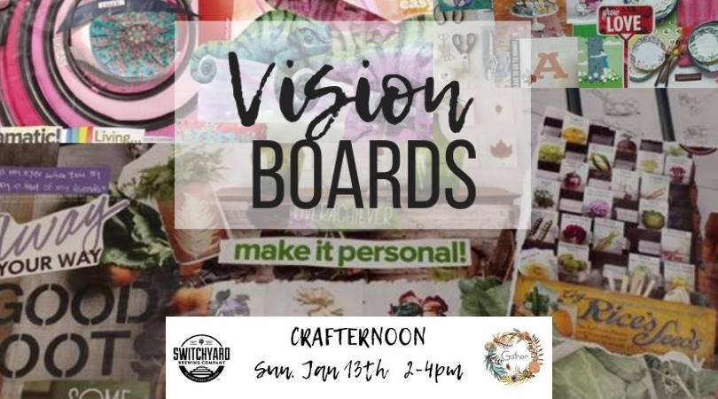 Join us at Switchyard to bring in the new year with VISION BOARDS!! This is something we do every year, and this year we're so excited to get to do it at Switchyard!  Register here, online, by January 12th for $10 and your ticket INCLUDES 1 beer, and the cost of all materials to make your vision board.   Register day of, in person at Switchyard, for $10 and your ticket includes the cost of materials only.  (that means you get a free beer when you register early!)  All skill levels and ages welcome!  Event takes place Sunday, January 13th, 2-4pm at Switchyard, located at 419 N. Walnut.  ** please feel free to bring your own magazines, books, ephemera, photographs, etc to add to your own vision boards. we will have plenty to share as well as glue sticks, paint, poster board and some random craft supplies.   PURCHASE TICKETS NOW: https://squareup.com/store/gathershoppe/item/crafternoon-vision-boards-with-gather-at-switchyard?fbclid=IwAR1015AKvIcAplSRBbX1toOLJK32wZ4gSELHZzjGiWQr69xnBiZgee9U3EY