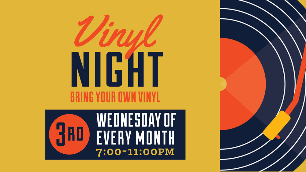 Bring your own records and play them on the in-house turntable. Also make sure to check out our friends at  Landlocked Music , just down the street for new and used vinyl.  We will raffle off a $25 gift certificate to Landlocked at 9:30 PM - but you've gotta be present to win!   How it works: 1). Sign up starts with our bartender at 6PM 2). Sign up is first come first serve. 3). Any genre is welcome 4). 5 - 25 min sets 5). Please respect the tables, mixer and needles; equipment is not cheap. 6). Have fun, kick back and enjoy!  We see music as creative expression, however, management reserves the right to discontinue any music that is extremely vulgar, ambient, or otherwise not deemed appropriate for our family-friendly environment. Please spin responsibly.