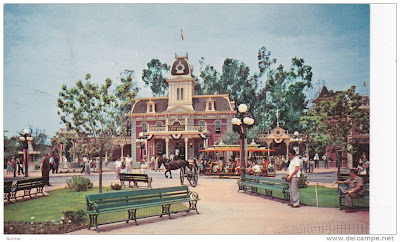 Main Street Town Sq. Disneyland old postcard