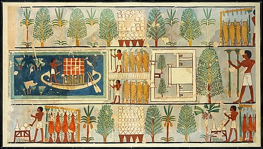 the attempt to organize space in a geometrical construction can be seen in this rendering of a funeral procession in a thebes garden