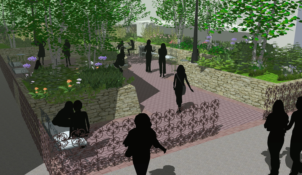 Courtyard design concept for Russell Sage College