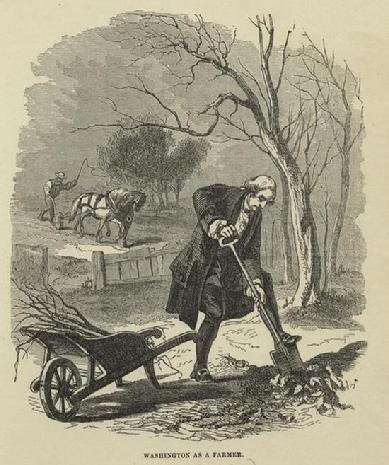 "A vintage engraving depicts the first President of the United States, George Washington, as a ""gentleman farmer."" Published in 1859"