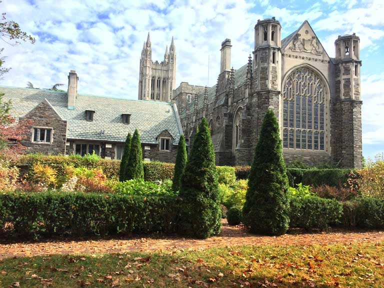 A brilliant design move! Conifers echo the spires on the gothic architecture. Photo ©ToddHaimanLandscapeDesign2014
