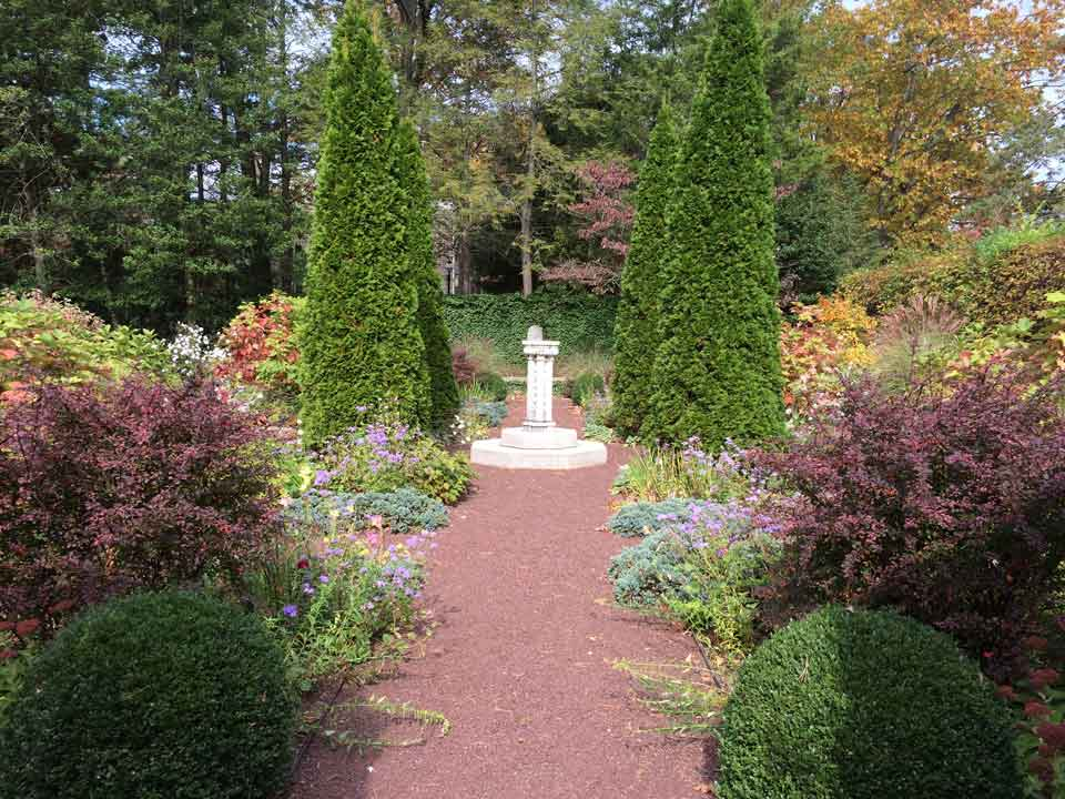 Sundial as focal point, center of garden design. Photo ©ToddHaimanLandscapeDesign2014