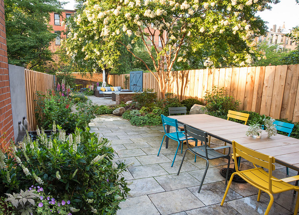 Brooklyn garden design with fountains, travertine pavers