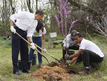 Obama plants a native tree
