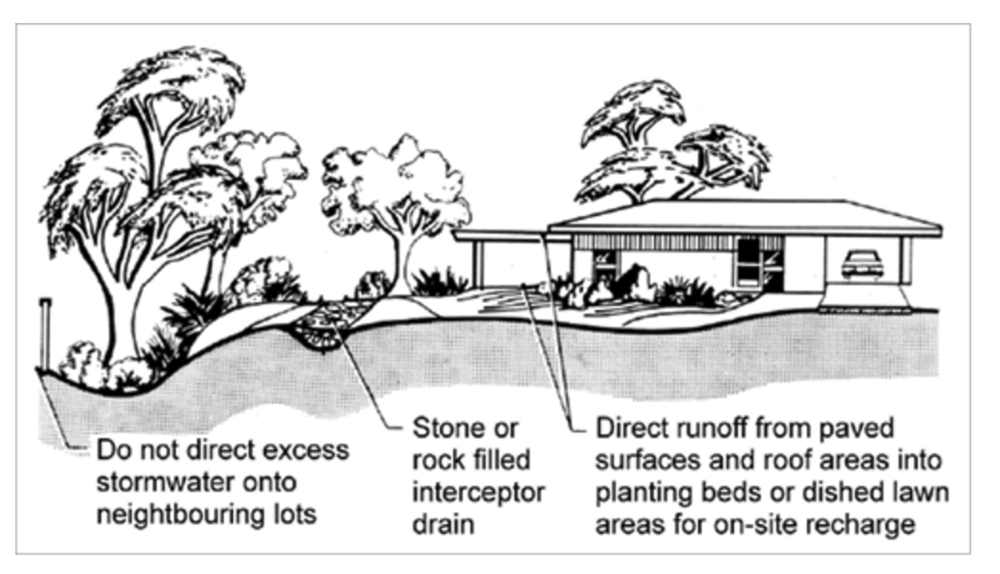 Water sensitive urban design slows stormwater runoff and improves filtration and infiltration.