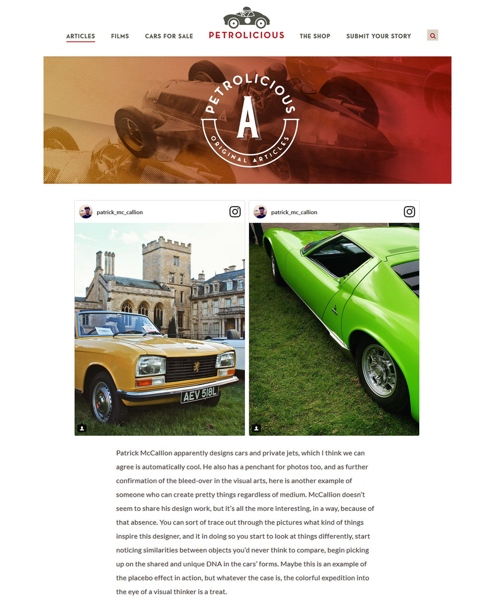 Petrolicious Instagram article
