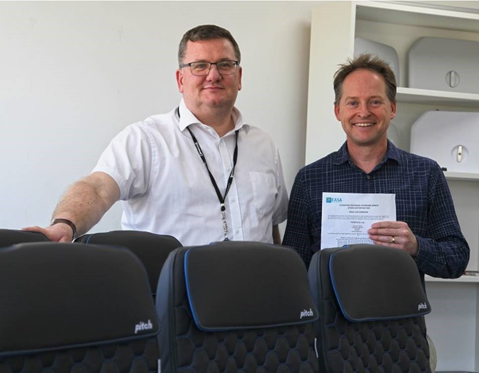 PITCH Managing Director, Paul Broadaway, and Director, Gary Doy, proudly show the PF3000 EASA ETSO certificate.