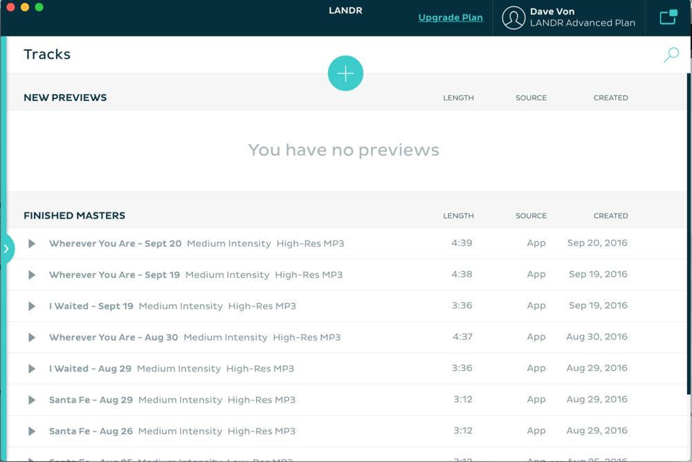Landr's super-simple desktop app.