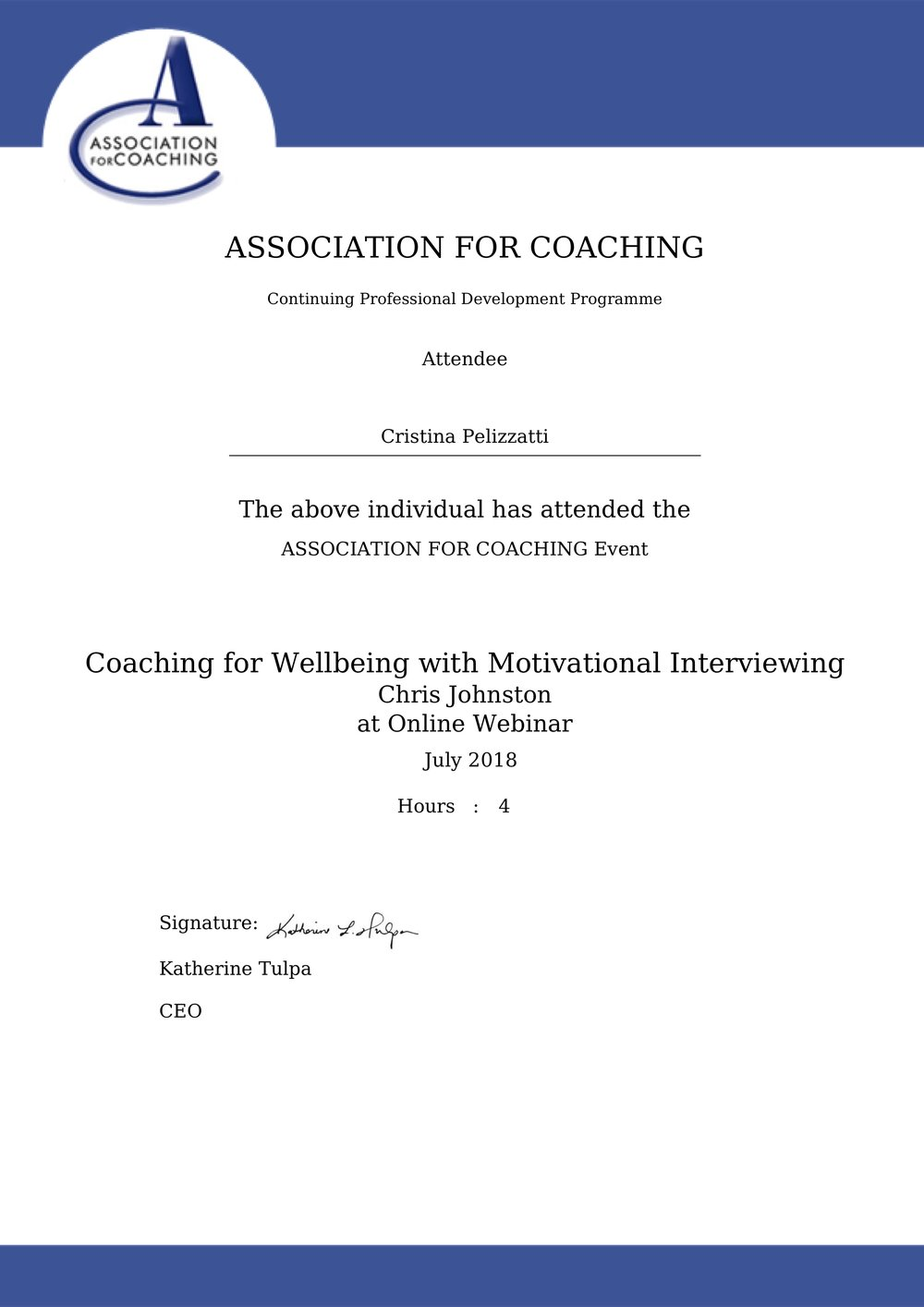 Cristina Pelizzatti - Coaching for Wellbeing with Motivational Interviewing - CPD.jpg