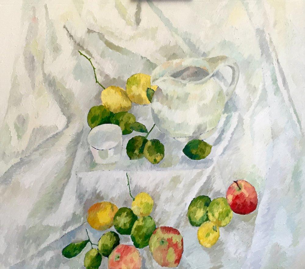 """Still Life 5.0 - Morning                                       Oil on Canvas, 50""""x40"""". Framed.2015. $5000"""