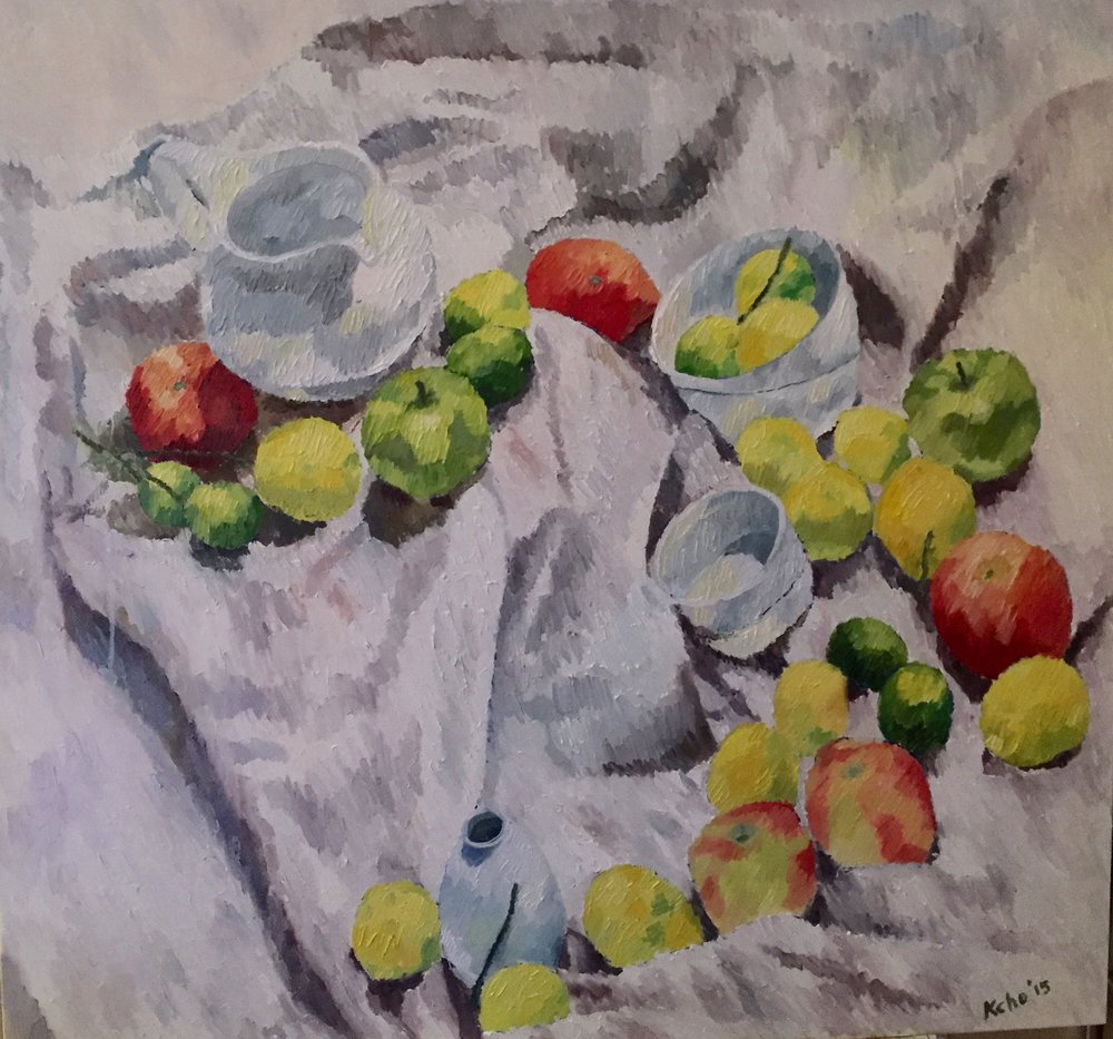 """Still Life Study 6 with Lemons and Apples                       38"""" by 38"""".Oil on Canvas. 2015. Sold"""
