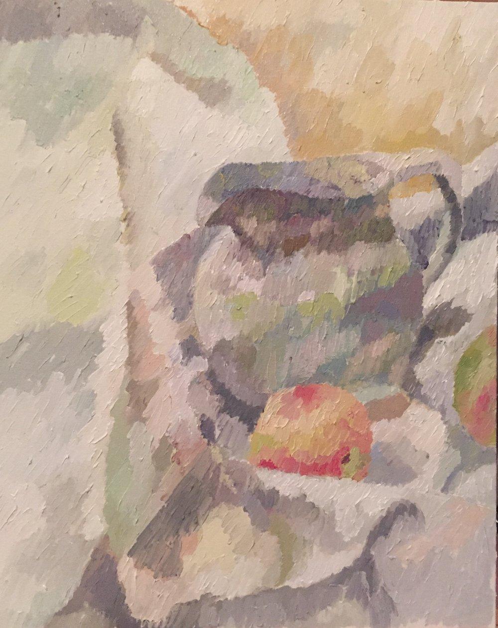 """Still Life 5.3 evening                  20""""x16"""".Oil on canvas board. Framed. 2015. $450"""