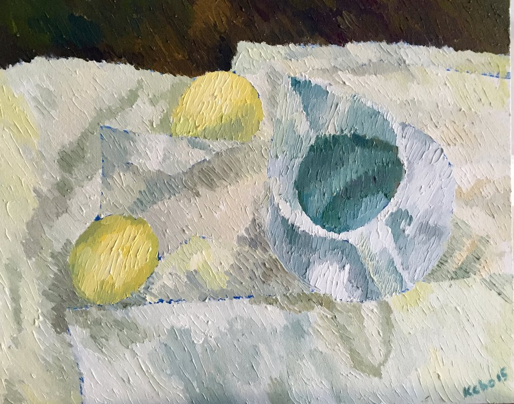 "Still Life 7 - Night with 2 Lemons                      20""x16"".Oil on canvas board. Framed.2015. $475"