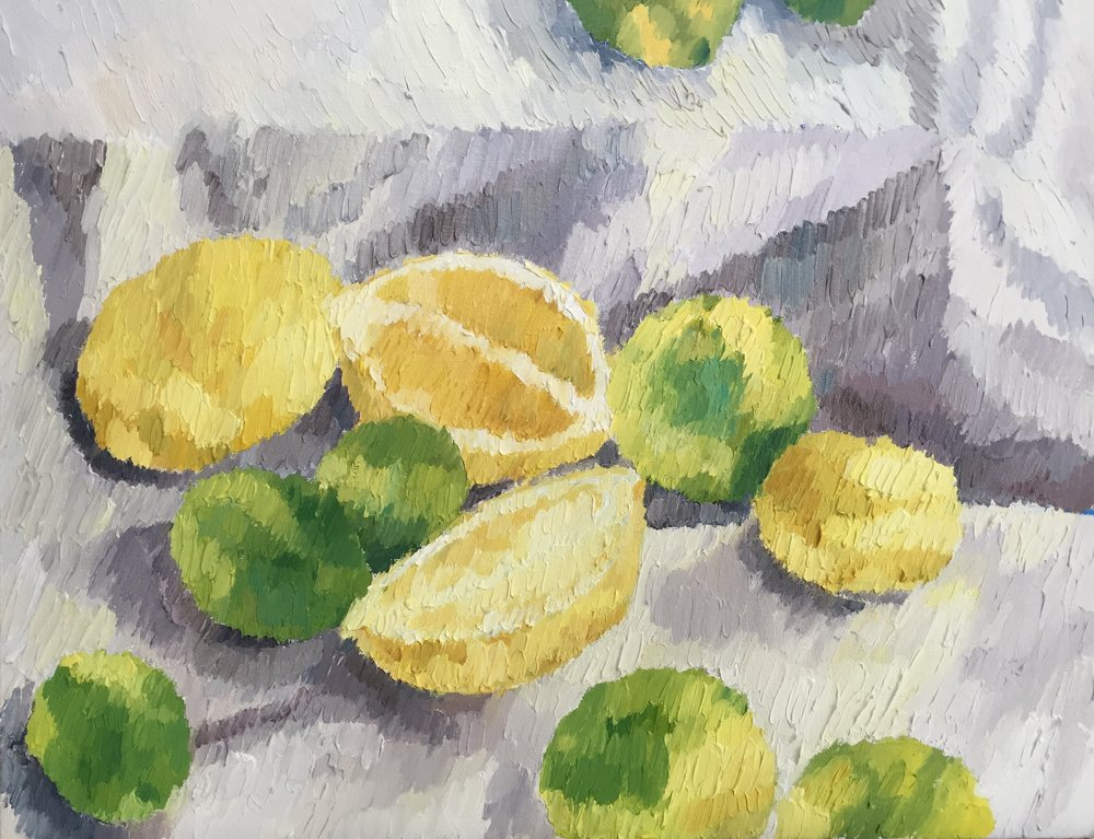 """Lemons from Jess's home               Oil on canvas board. 18""""x14"""". Framed.2016.SOLD"""