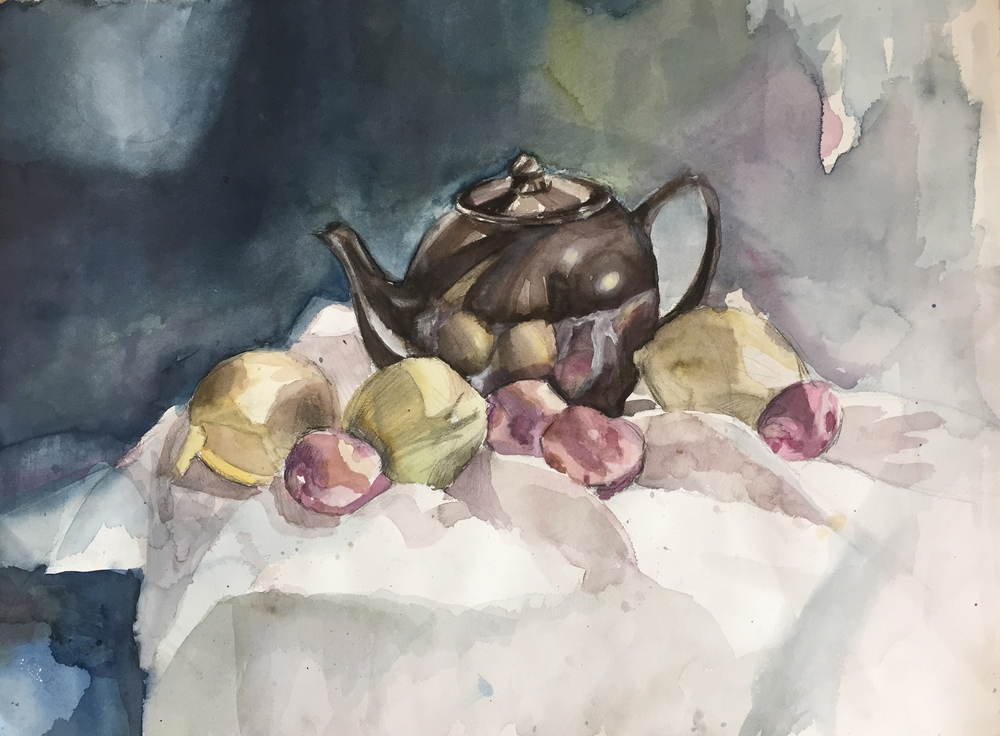 """Still Life                 Watercolor on paper, 36"""" by 24"""", 2000. $1000"""