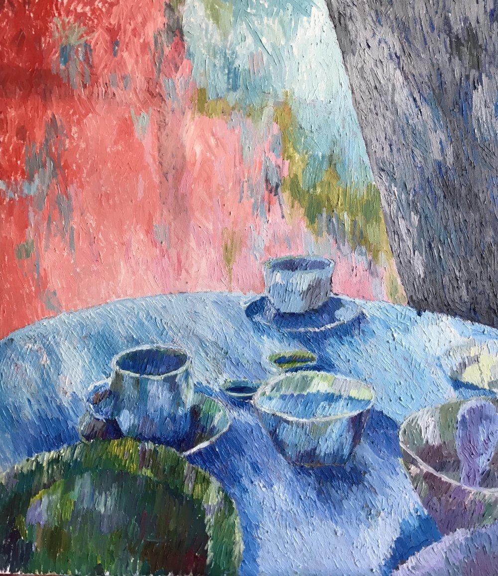 "Breakfast                          32""x36"". Oil on Canvas. 2017. $3500"